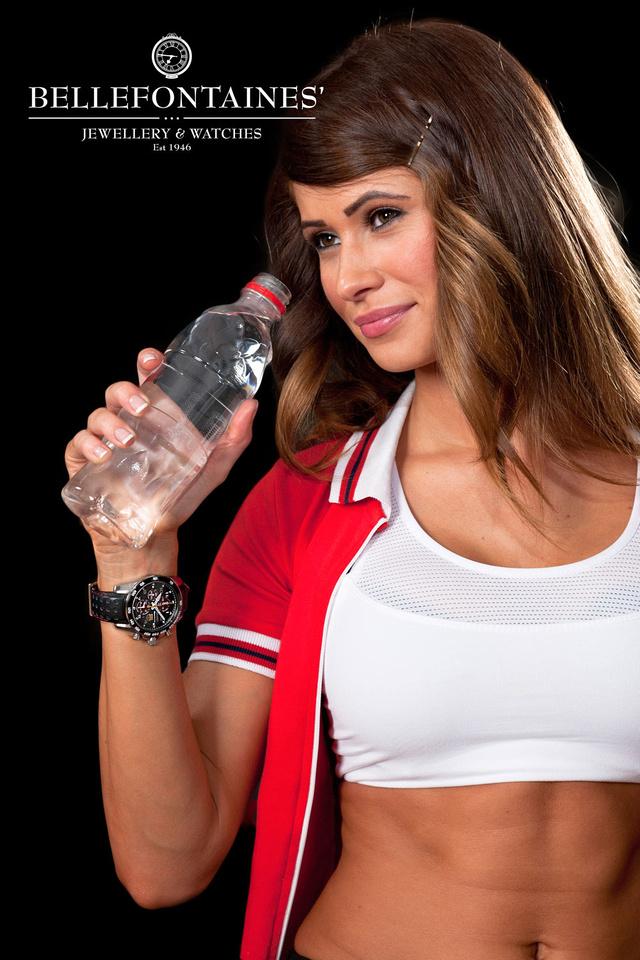 Shot in my studio, model Kelly wearing a Seiko Sportura watch, drinking water