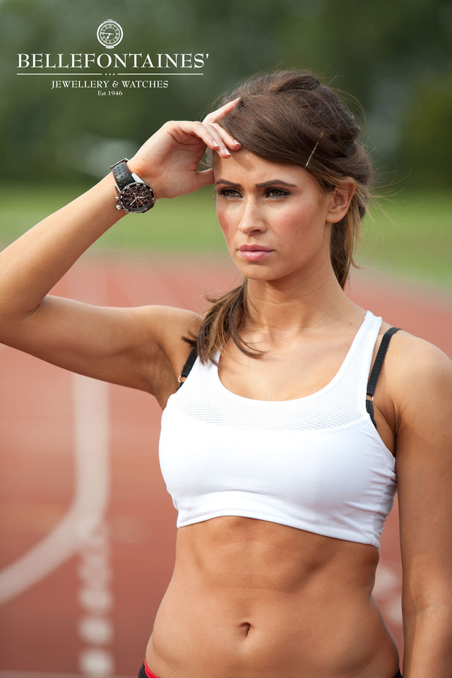 Strength and Beauty is a fitness photoshoot in collaboration with Bellefontaines Jewellers, Billericay. In this image model Kelly Amber wears her Seiko Sportura Watch whilst training on the track.