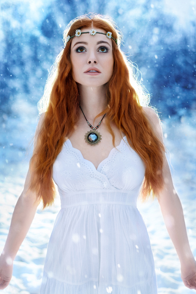 Fantasy image of redhead in the snow