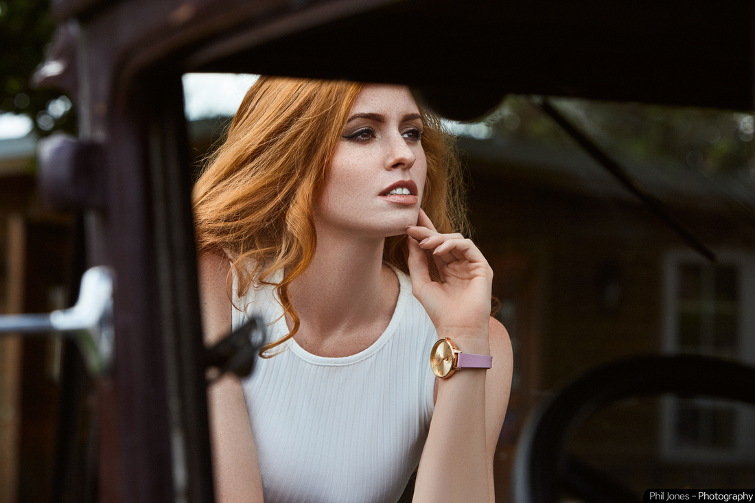 Commercial photoshoot of model Grace Gray wearing Ma-Ga London watch with Model A Ford Hotrod  by Phil Jones Photography