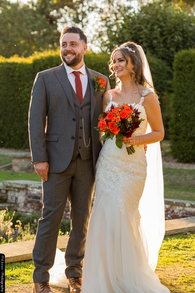 bridal couple surrounded by autumn light