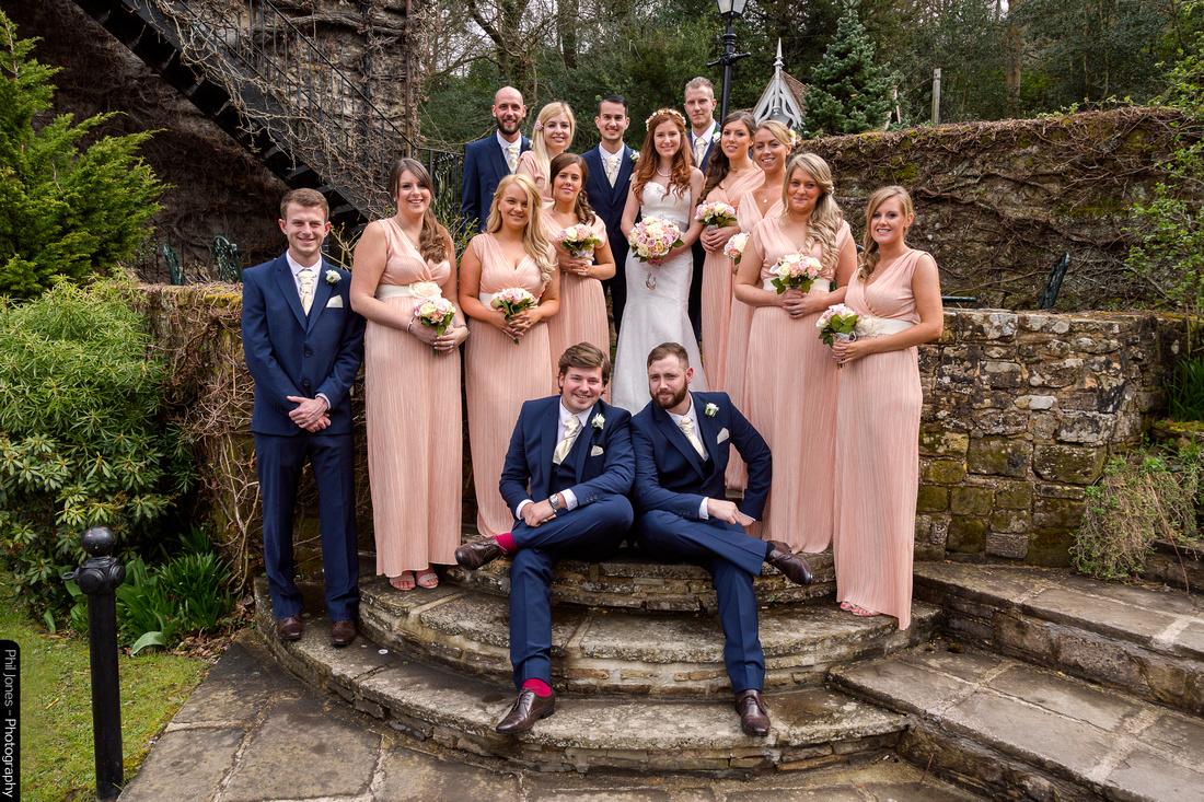 Bridal Party at wedding High Rocks in Kent