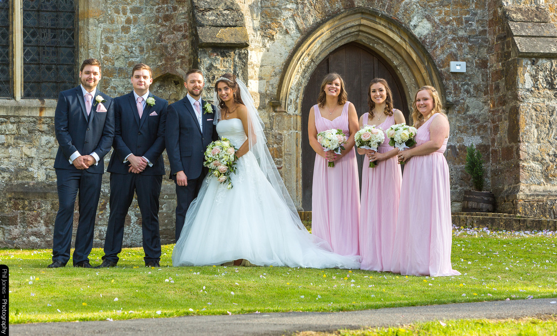 Wedding photography bridal party at Church of St Mary the Virgin at South Benfleet Essex