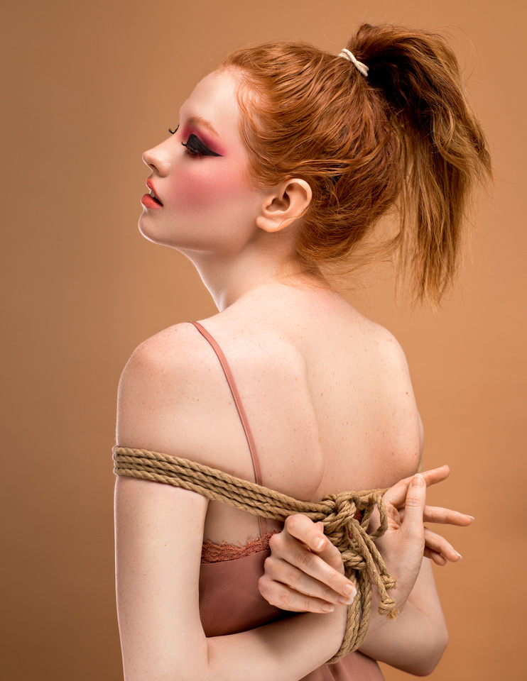 Beauty and Rope. A modern mix of modern beauty makeup and  Shibari rope art. Hands Tied beauty shoot with Grace Cairns