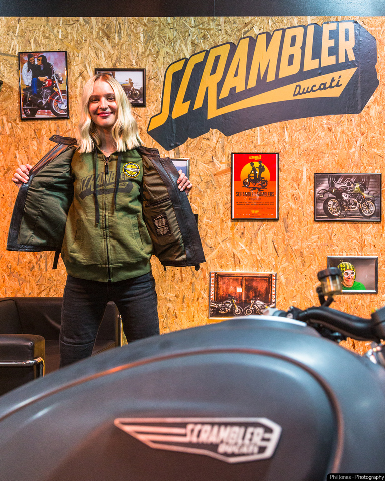 Dominika Rides showing off her Ducati Scrambler attire at the Bike Shed Show London 2019