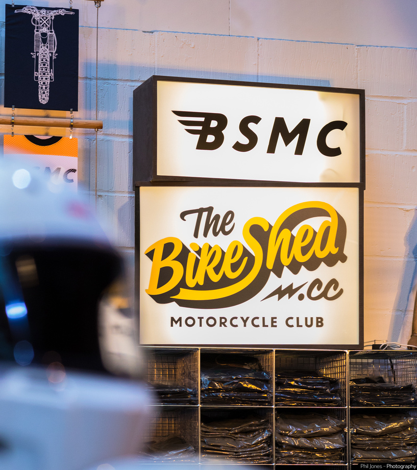 Signage of The Bike Shed Motorcycle Club at The Bike Shed Show 2019, Tobacco Dock.