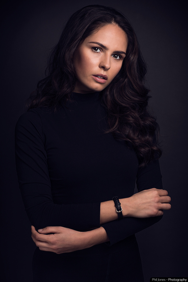 Model Rebecca White wearing all black including watch inside her wrist which is part of my signature look