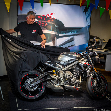 photograph of unveiling of latest Triumph motorbike for Lings dealers