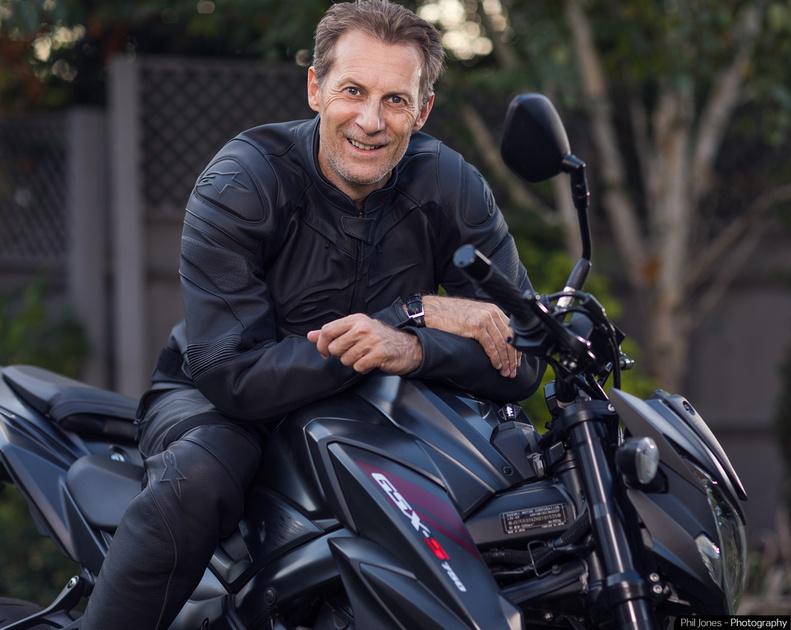 Phil Jones on his Suzuki GSX S750 motorcycle