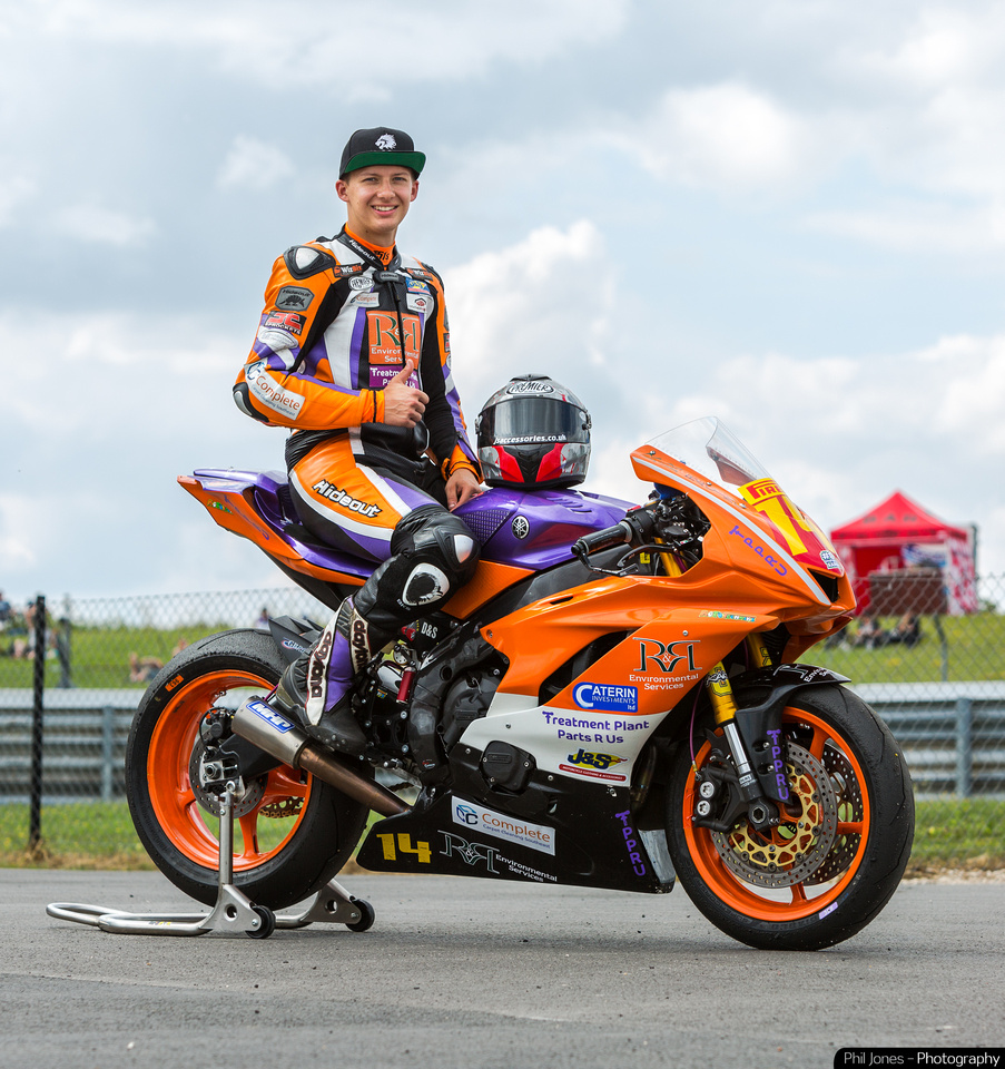 Superstock 600 rider Louis Valleley wearing his Hideout Leather Racing Suit
