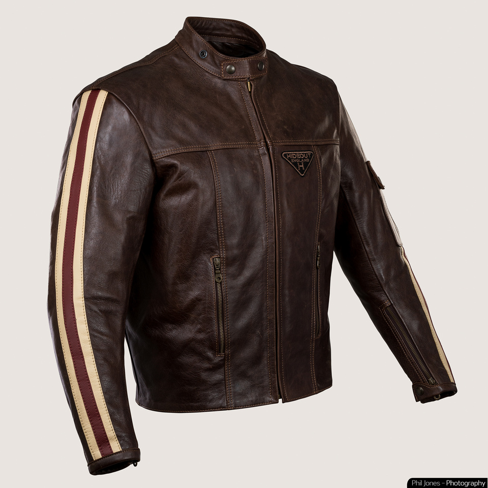 Motorcycle commercial photography Hideout Leather Cafe Cruiser Jacket