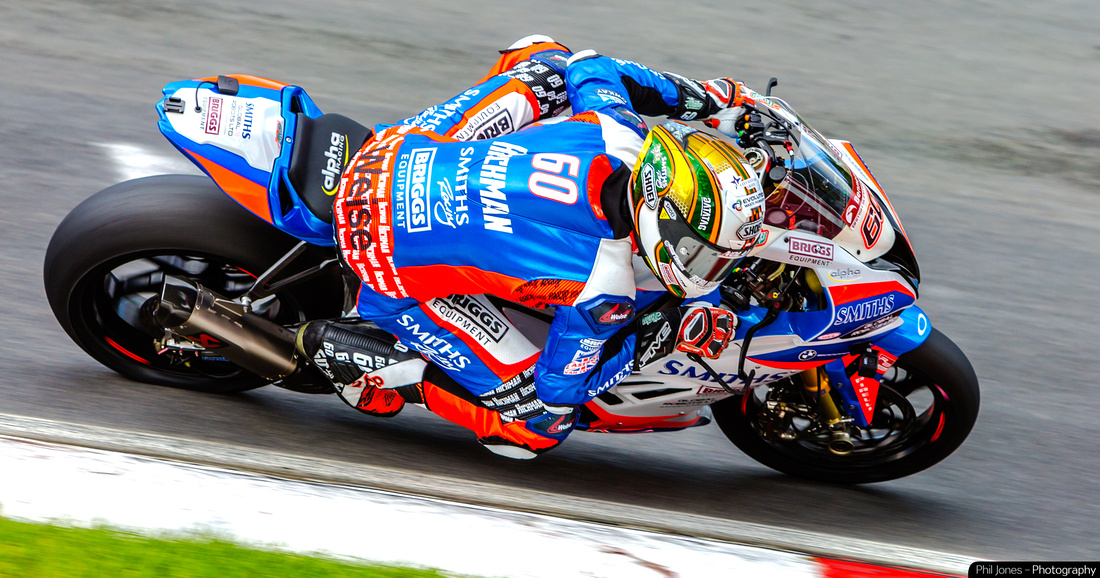 Peter Hickman on track at the British Superbikes