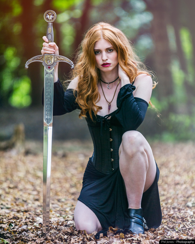 Shieldmaiden. Ginger warrior with sword