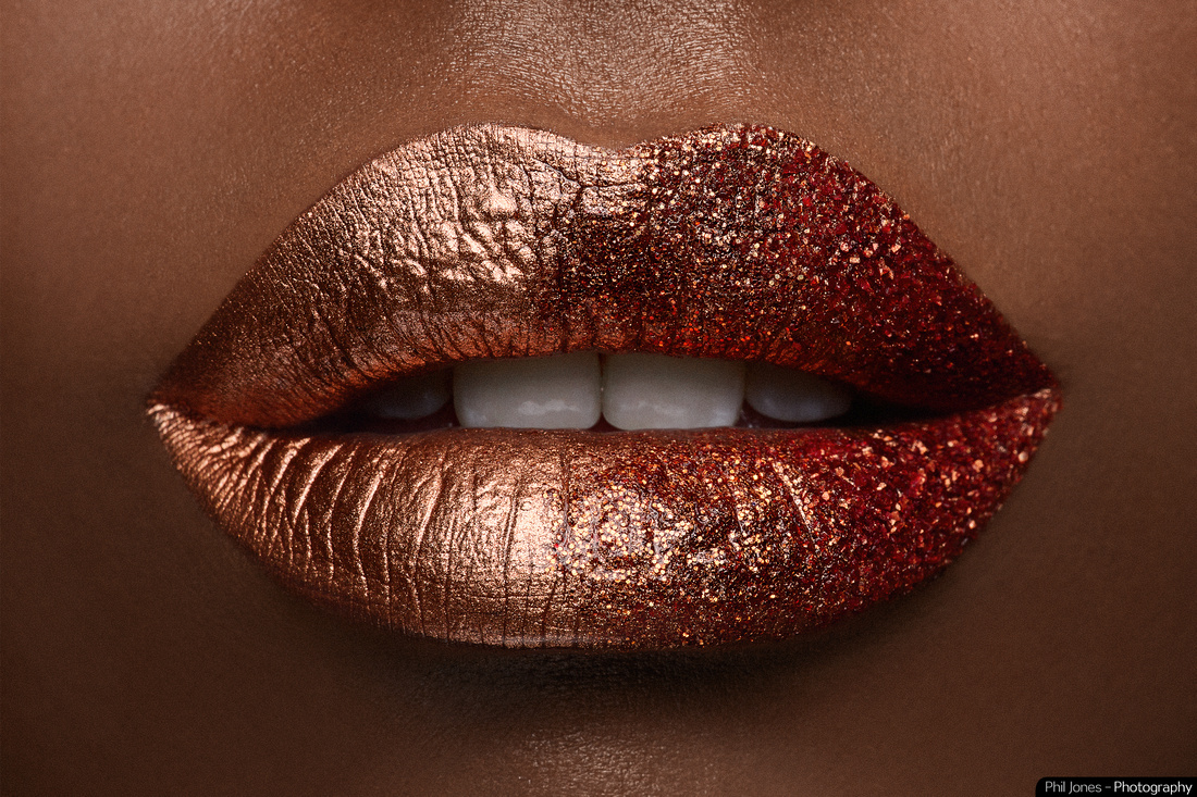 Beauty Photography. Close up of sparkling lips, makeup by Grace Gray