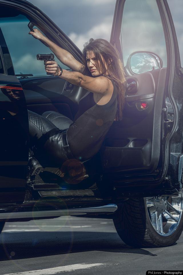 ANDIE - Actor Andrea Vasiliou full on action-adventure drama photoshoot.