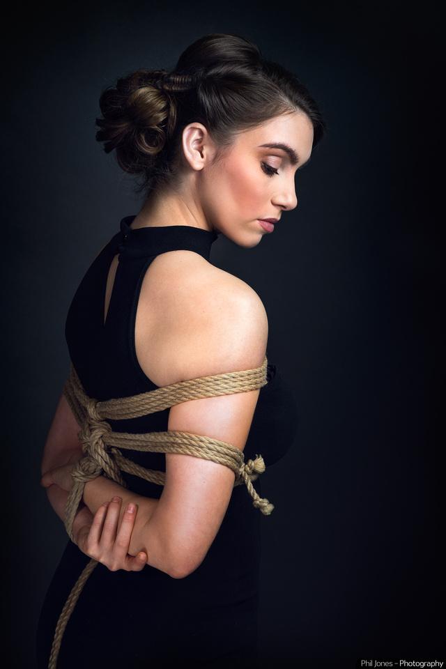 Shibari Photoshoot Takate kote rope tie on female model