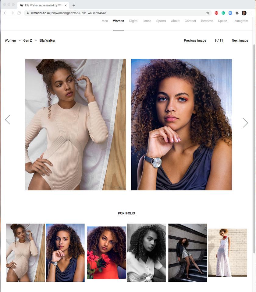 WModel Management website Ella Walker