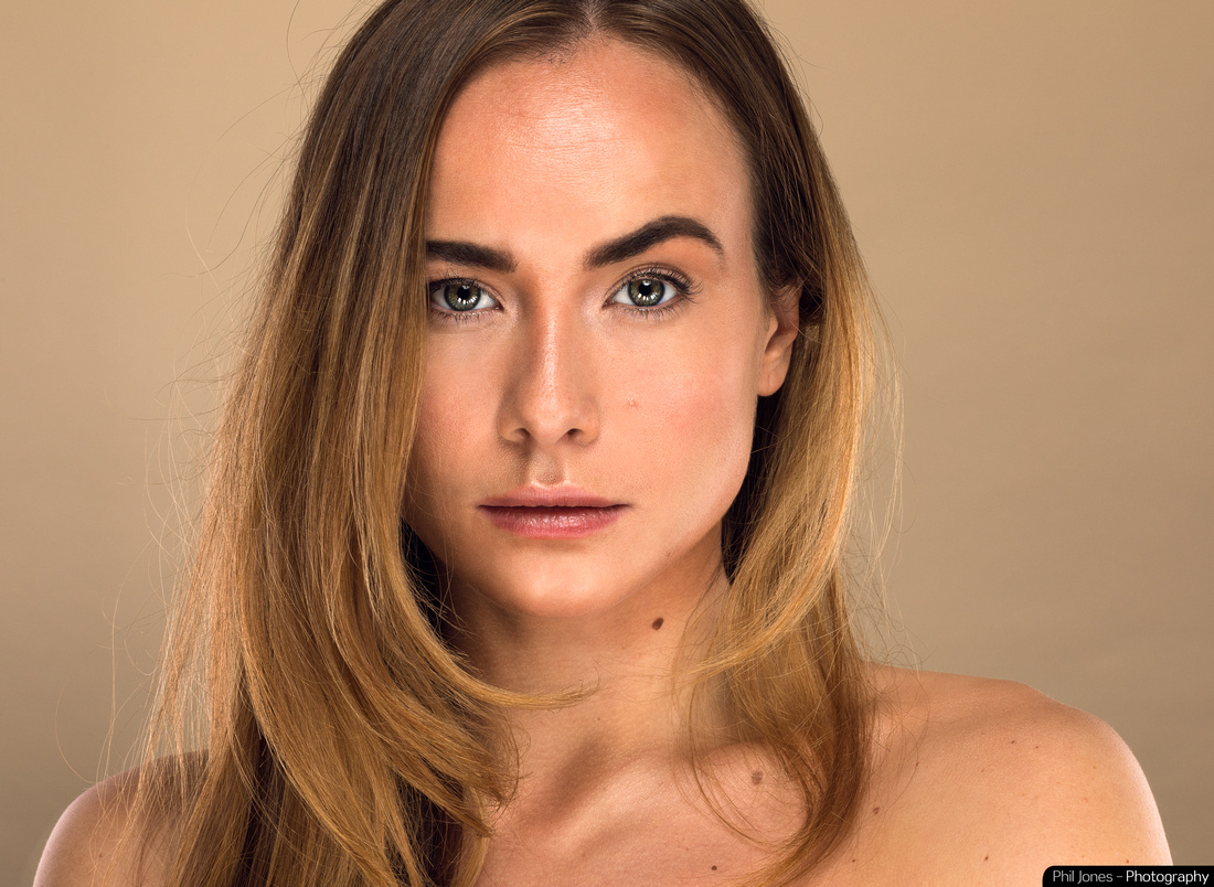 Beauty photography of Essex model and actor Imogen Leaver by Phil Jones in a home photography studio. Makeup by Gemma Howell.