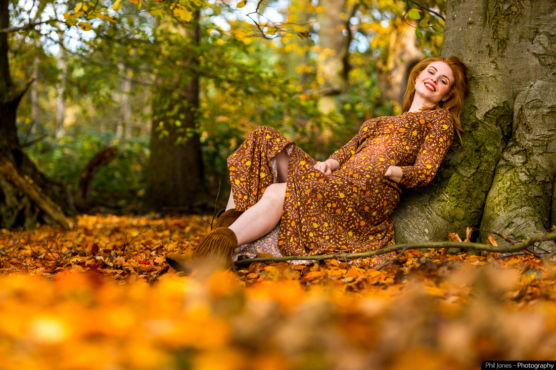 Model Grace Gray wearing Collectit Clothing. Autumnal photoshoot