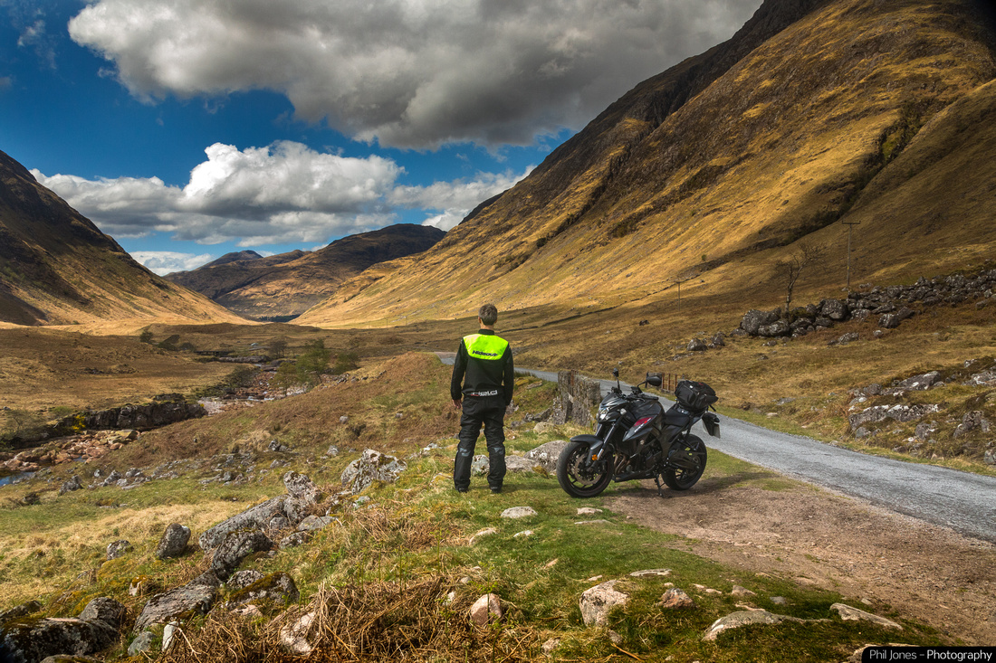 Adventures in Scotland. Shot where they filmed James Bond's Skyfall. Suzuki GSX S750, wearing Held Waterproofs and Hideout Leather Hi Viz Bib