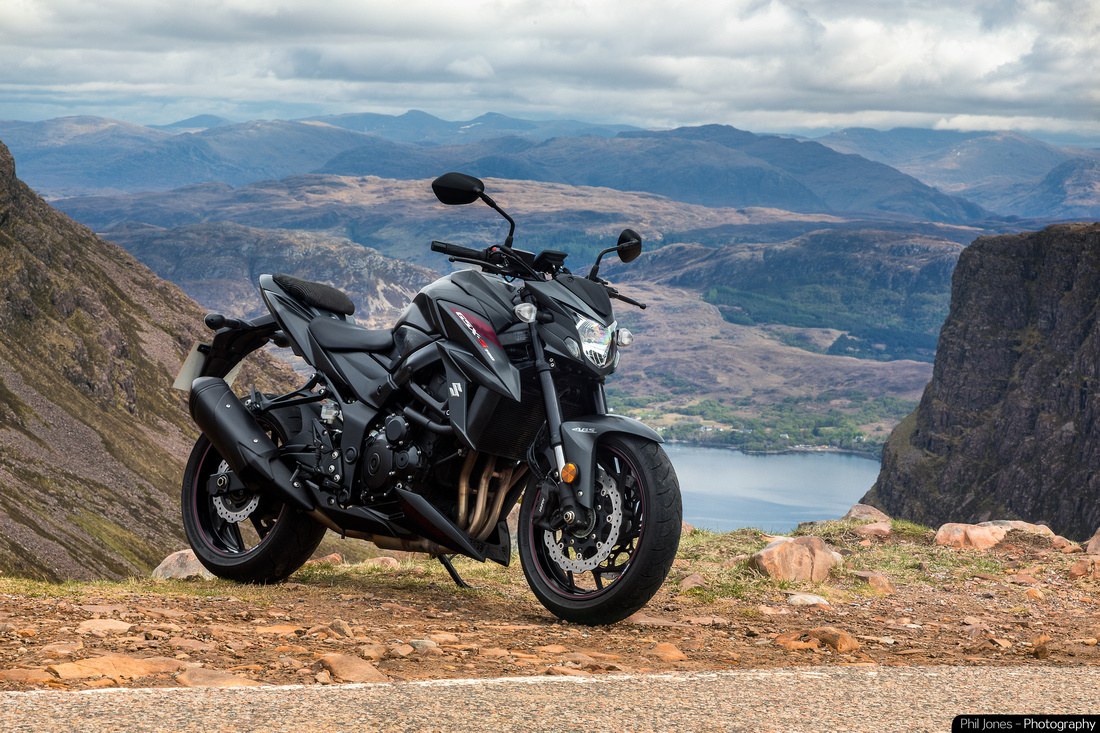 Suzuki GSX S 750 at the Pass of the Cattle, Scotland