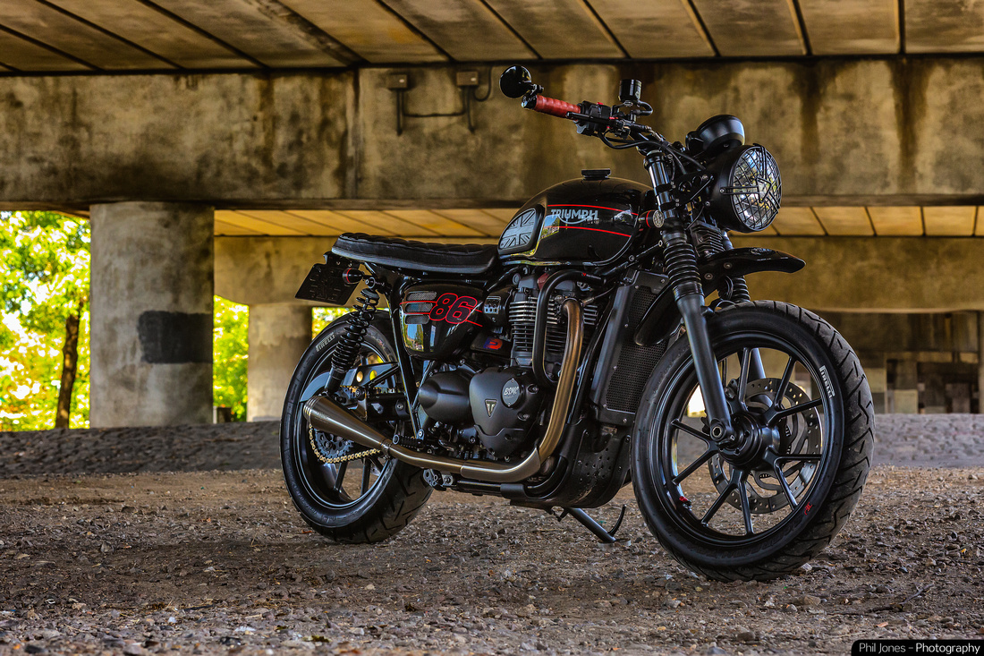 Triumph motorcycle photography. Custom Triumph Street Twin by commercial photographer Phil Jones