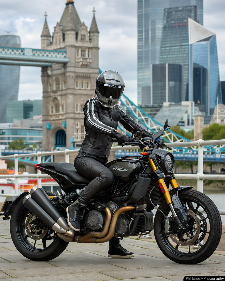 Indian FTR 1200 Krazy Horse London Review at Tower Bridge London. Photography by Phil Jones