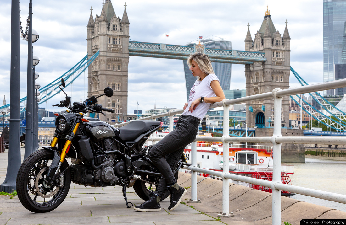 Press and Marketing motorcycle photography. Indian FTR 1200 Krazy Horse London Review at Tower Bridge London. Photography by Phil Jones