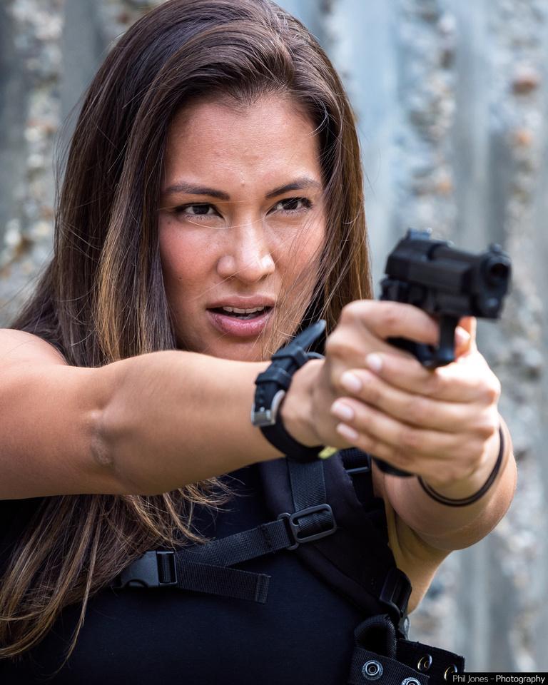 Female assassin style photoshoot with Model and Actress Tara Hoyos-Martínez