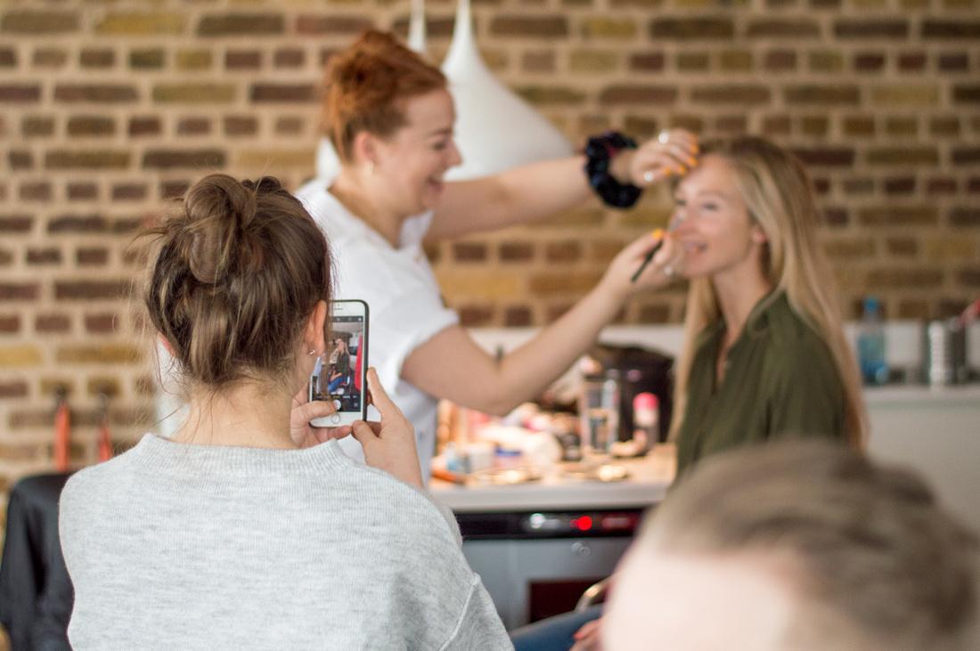 Makeup artist Ema Tiller Cordy and model Nina preparing for the shoot