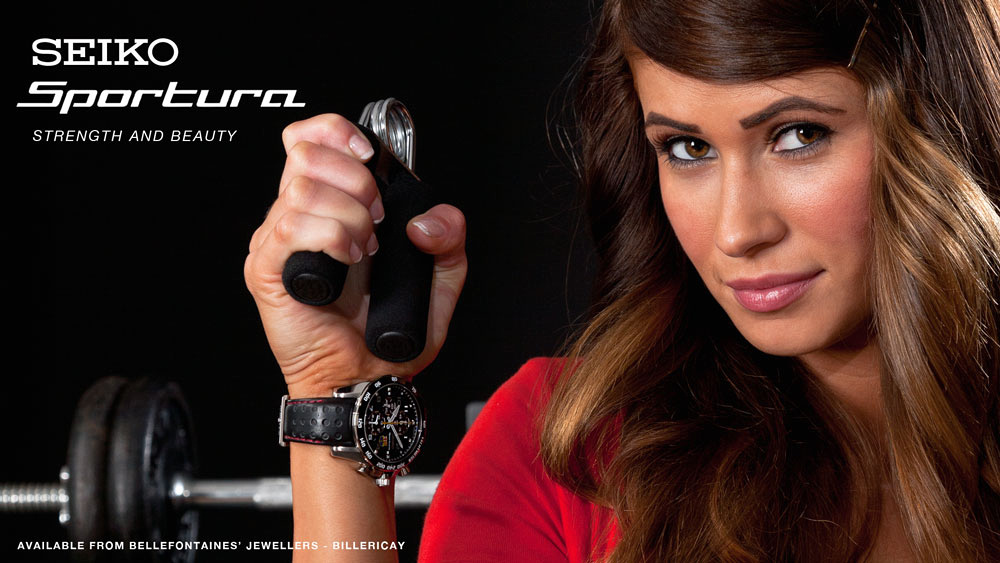 Seiko Sportura watch marketing image for Bellefontaines' Jewellers, Billericay.
