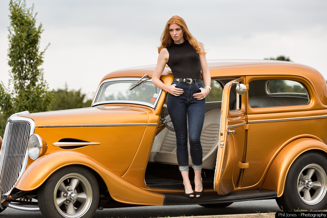 Neil Tadmans beautiful 1934 Ford Sedan with model Grace Gray for Ma-Ga London watch photoshoot