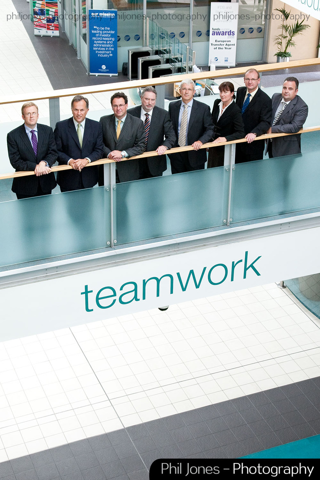 Corporate group shot which captures the ethos and surroundings of the organisation.